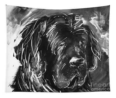 Dog Black And White  Tapestry