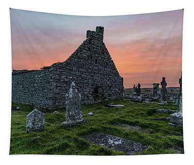 Doolin Ireland Graveyard At Sunrise Tapestry