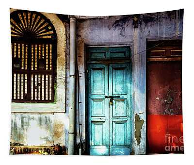 Tapestry featuring the photograph Doors Of India - Blue Door And Red Door by Miles Whittingham