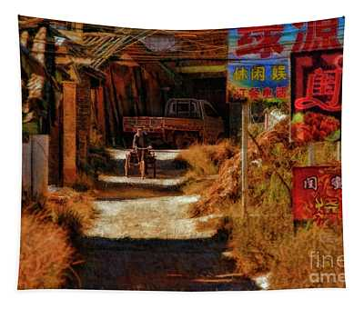Down The Hill In China Tapestry