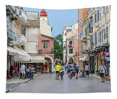 Downtown Street Corfu Island Tapestry