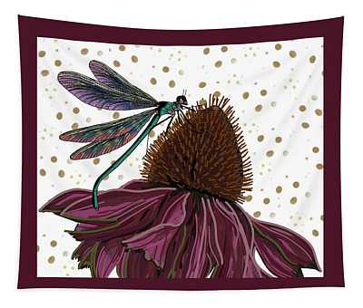 Dragon Fly And Echinacea Flower Tapestry