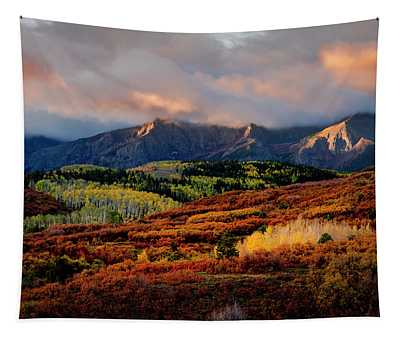 Dramatic Colorful Fall Sunrise In Colorado San Juan Mountains Tapestry