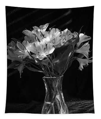 Dramatic Flowers-bw Tapestry