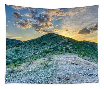 Dramatic Mountain Sunset Tapestry