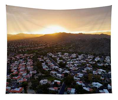 Dramatic South Mountain Sunset Tapestry