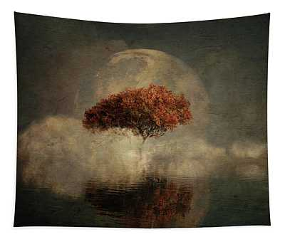 Tapestry featuring the digital art Dream Landscape With Full Moon by Jan Keteleer