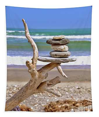 Drift Wood And Pebbles Tapestry