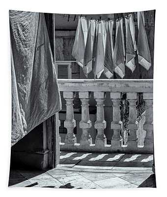 Drying Napkins Black And White Tapestry