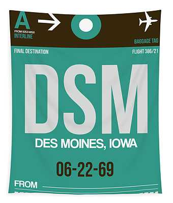 Dsm Des Moines Luggage Tag II Tapestry