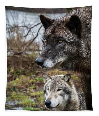 Dual Wolves Tapestry