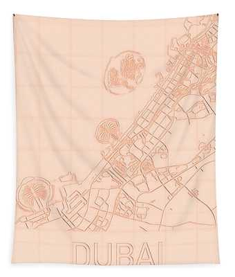 Dubai Blueprint City Map Tapestry