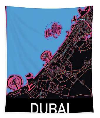 Dubai City Map Tapestry