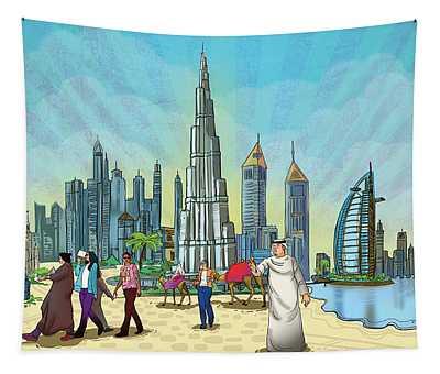Dubai Illustration  Tapestry