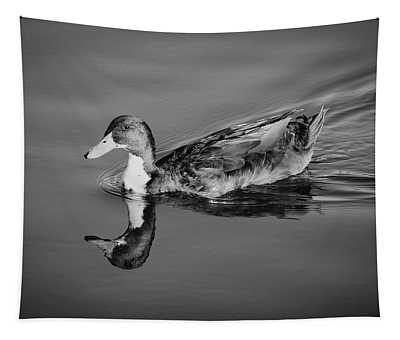 Duck In Black And White Tapestry