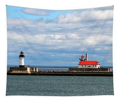 Duluth North And South Lighthouses Tapestry