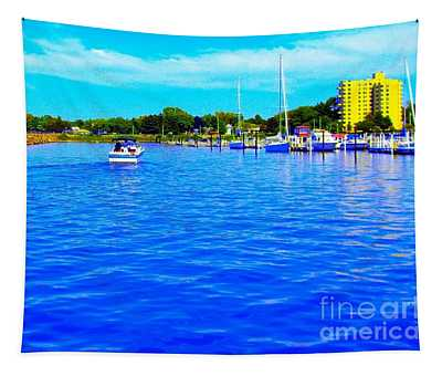 Dunkirk New York Harbor With Neon Effect By Rose Santucisofranko Tapestry