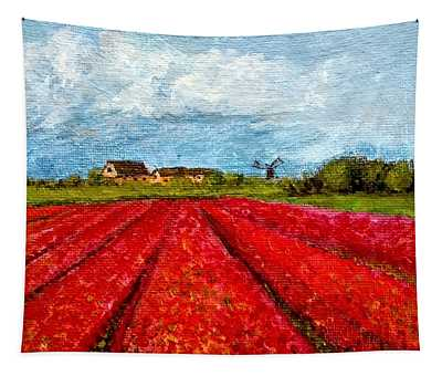 Dutch Tulips Farm Tapestry