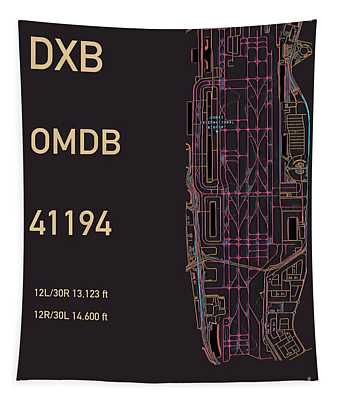 Tapestry featuring the digital art Dxb Dubai Airport by Helge