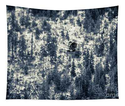 Tapestry featuring the photograph Eagle Against The Trees In Silvertone by Matthew Nelson