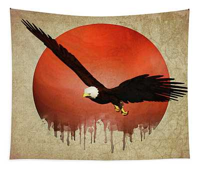 Tapestry featuring the digital art Eagle Flying by Jan Keteleer