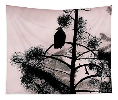 Eagle In Pink Sky Tapestry