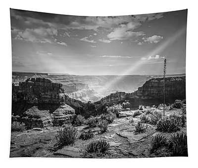 Eagle Rock, Grand Canyon In Black And White Tapestry
