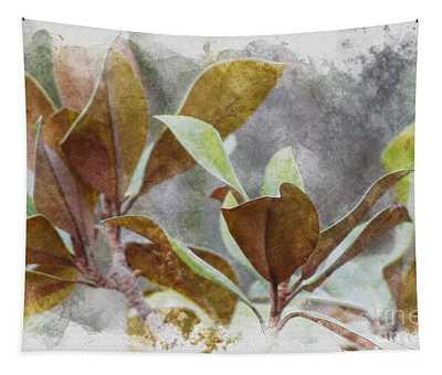 Earth Tone Magnolia Leaves In Digital Watercolors Tapestry