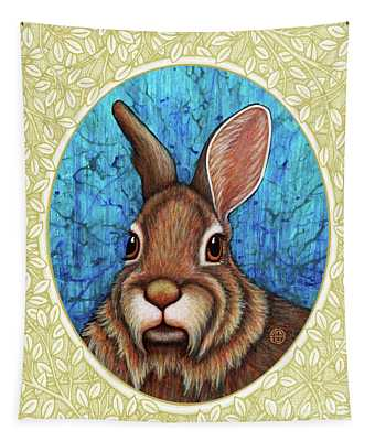 Tapestry featuring the painting Eastern Cottontail Portrait - Cream Border by Amy E Fraser