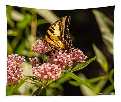 Eastern Tiger Swallowtail On Milkweed Tapestry