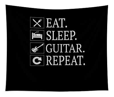 Eat Sleep Guitar Repeat Gift Funny Gift For Music Lover Tapestry
