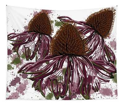 Echinacea Flowers Line Tapestry
