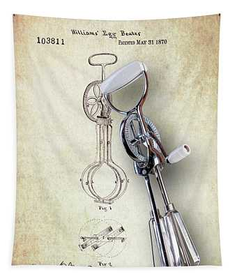 Eggbeater With Antique Eggbeater Patent Tapestry