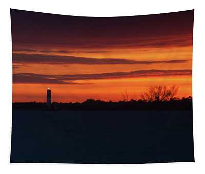 Egmont Key Lighthouse Sunset Tapestry
