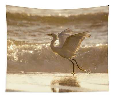 Egret At The Beach On A Sunny Morning Tapestry