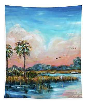Egret On Bank Tapestry