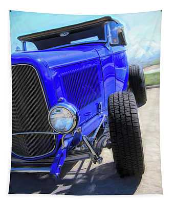 Electric Blue Hot Rod Roadster Tapestry