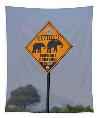 Elephant Crossing Tapestry