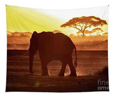 Elephant Walking Through Amboseli At Sunset Tapestry