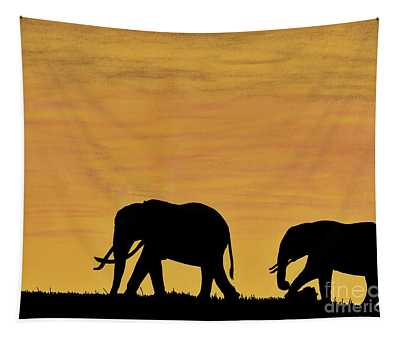Elephants - At - Sunset Tapestry