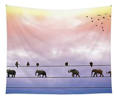 Elephants On The Wires Tapestry
