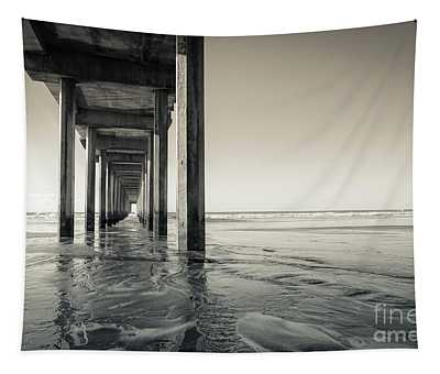 Ellen Browning Scripps Memorial Pier Black And White Tapestry