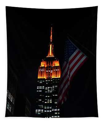 Empire State Building American Flag Tapestry