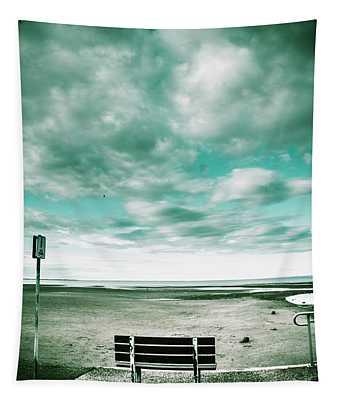 Empty Beach Bench Tapestry