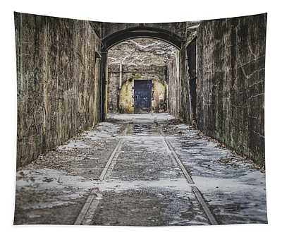 Tapestry featuring the photograph End Of The Tracks by Steve Stanger