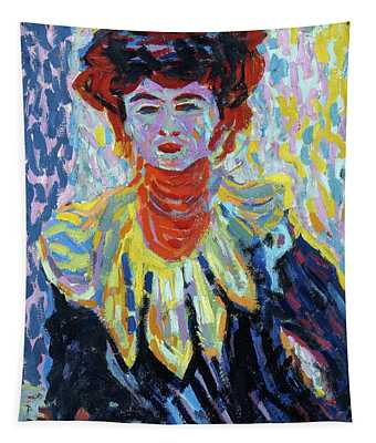 Ernst Ludwig Kirchner -aschaffenburg, 1880-frauenkirch, 1938-. Doris With Ruff Collar -ca. 1906-.... Tapestry