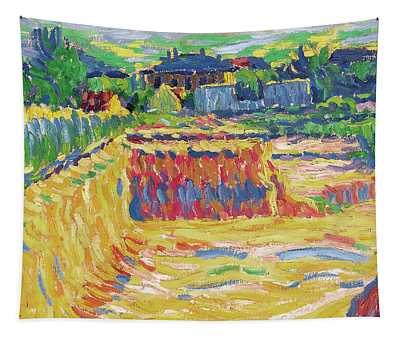 Ernst Ludwig Kirchner -aschaffenburg, 1880-frauenkirch, 1938-. The Loam Pit -ca. 1906-. Oil On Ca... Tapestry