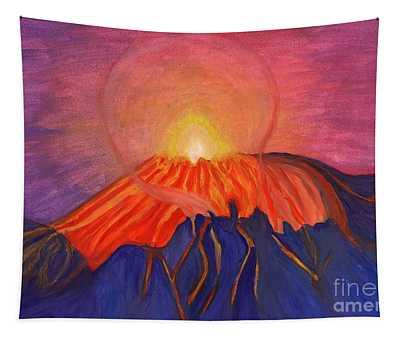 Erupting Volcano Tapestry