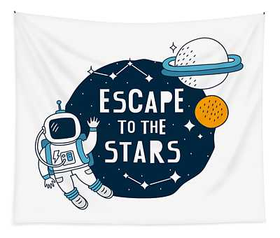 Escape To The Stars - Baby Room Nursery Art Poster Print Tapestry