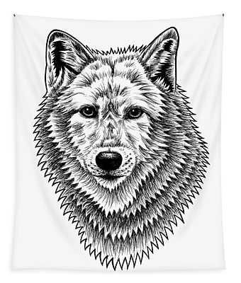 European Wolf - Ink Illustration Tapestry